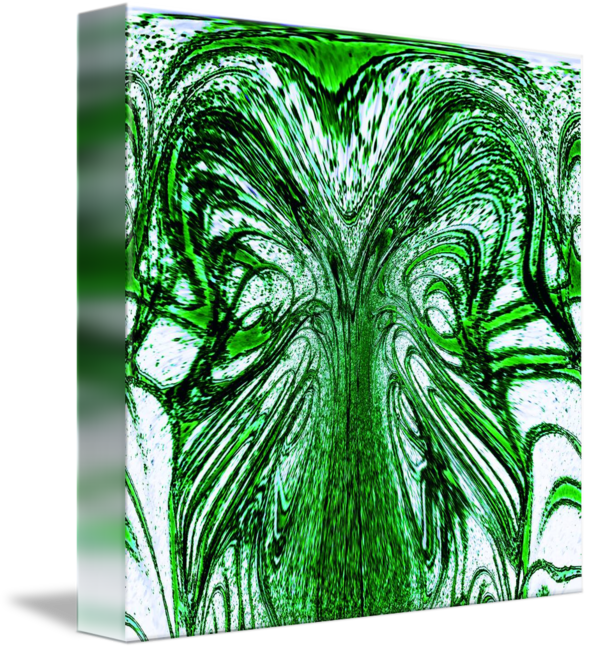 Green drawing abstract. Linear flow by karen