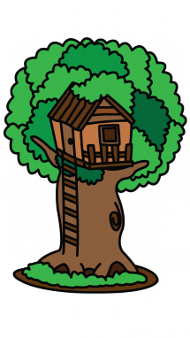 Green drawing children's. Trees for kids at