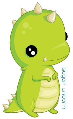 Green drawing cute animal. Little t rex by