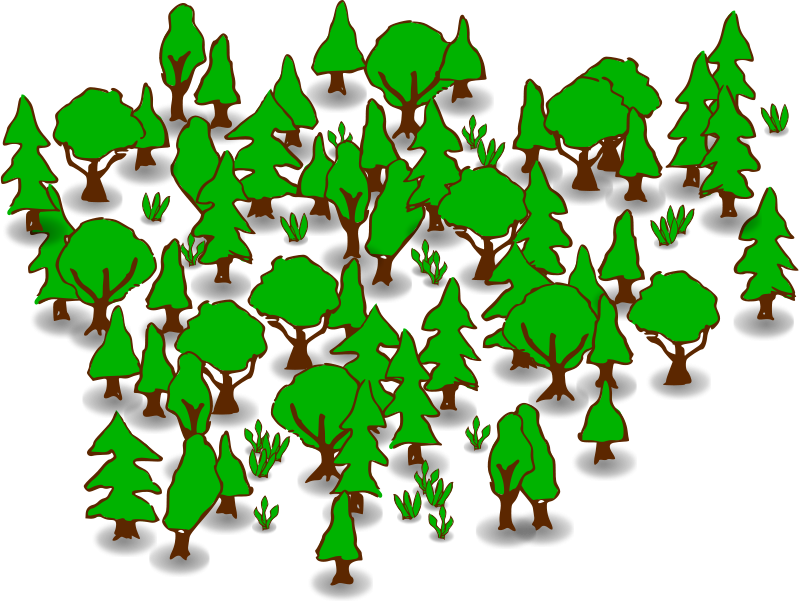 Green drawing forest. Trees clipart panda free