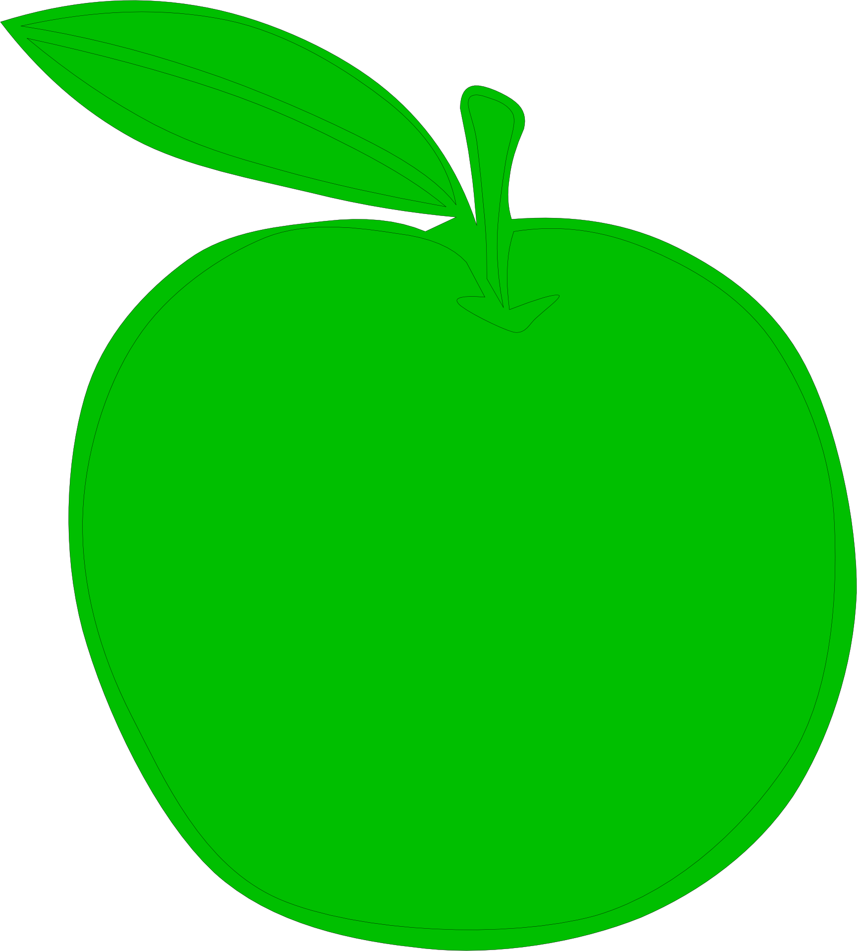 Green drawing fruit. Of a apple with