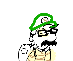 Green drawing hipster. Mario is a pc