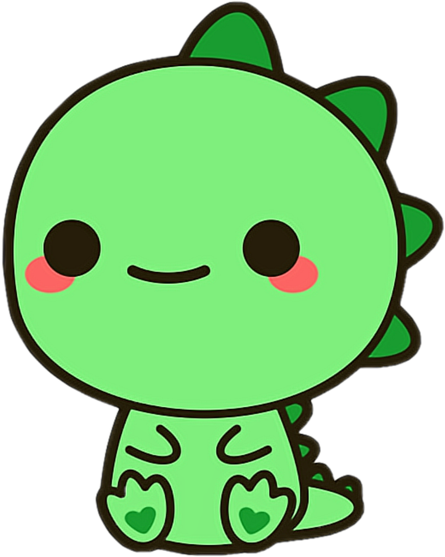Dragon dinosaur green cute. Kawaii animals png picture freeuse library