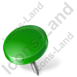 Green drawing marker. Map pin left icon