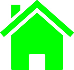 Vector sketching house. Simple neon green clip