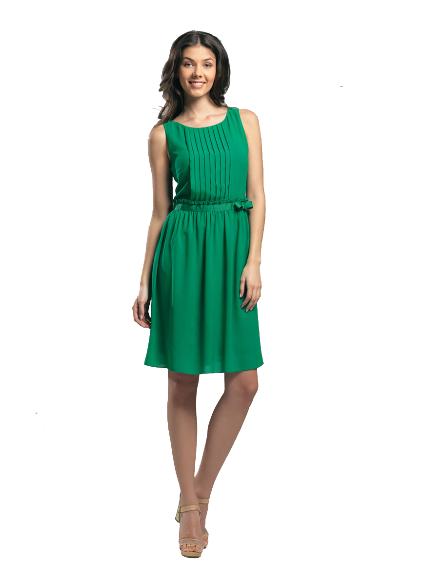 Green dress png. Girl in a by