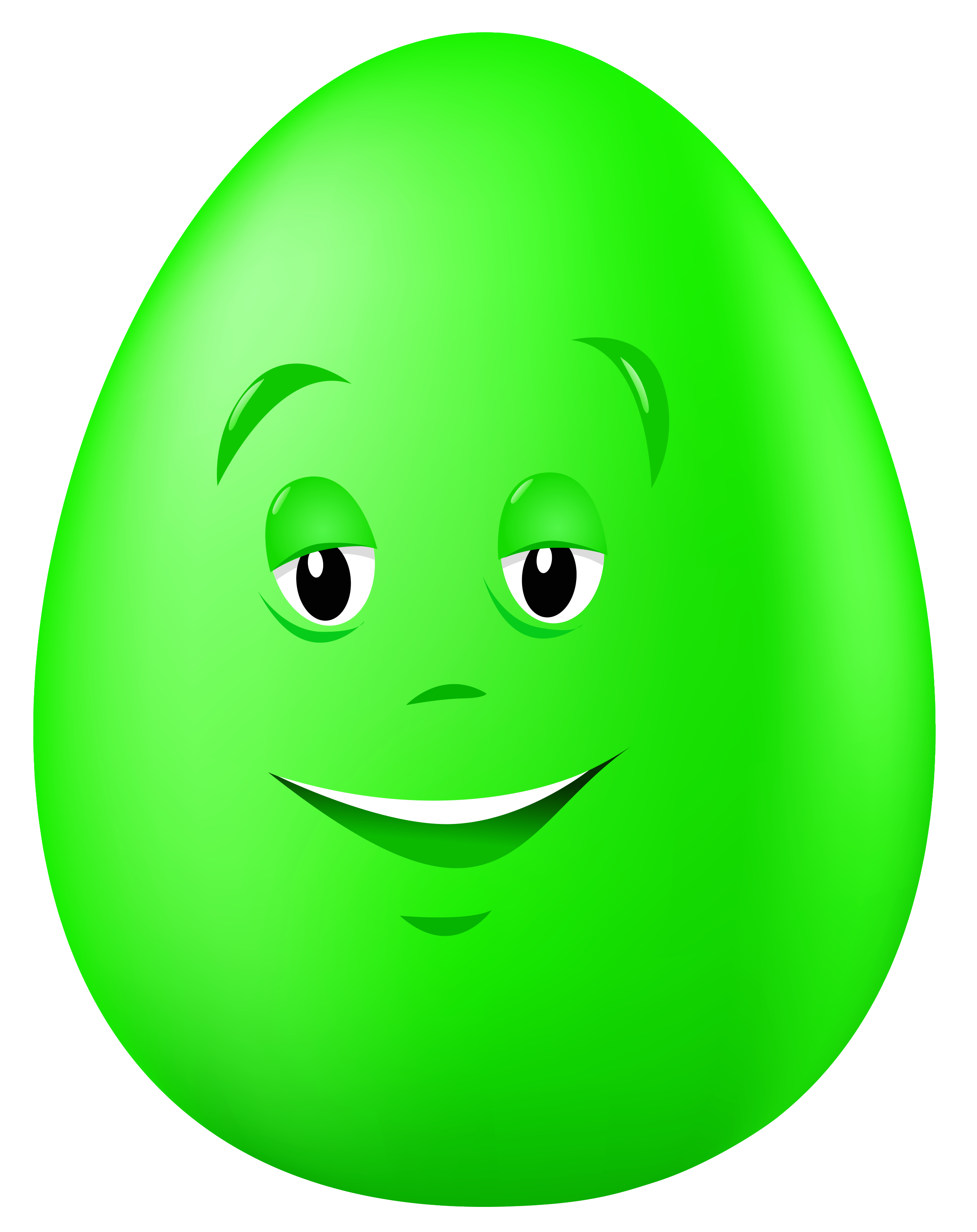 Green egg png. Transparent easter with face