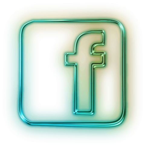 Neon square png. Glowing green icon social