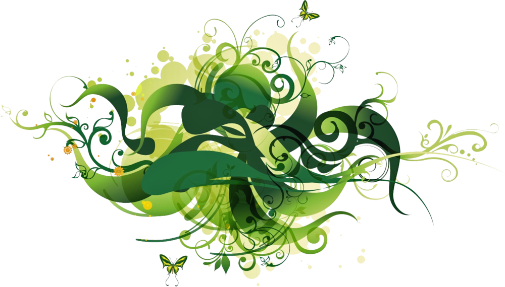 Green floral png. Vector psd official psds