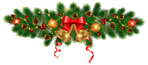 Green garland christmas ornaments png. Golden bells and decoration
