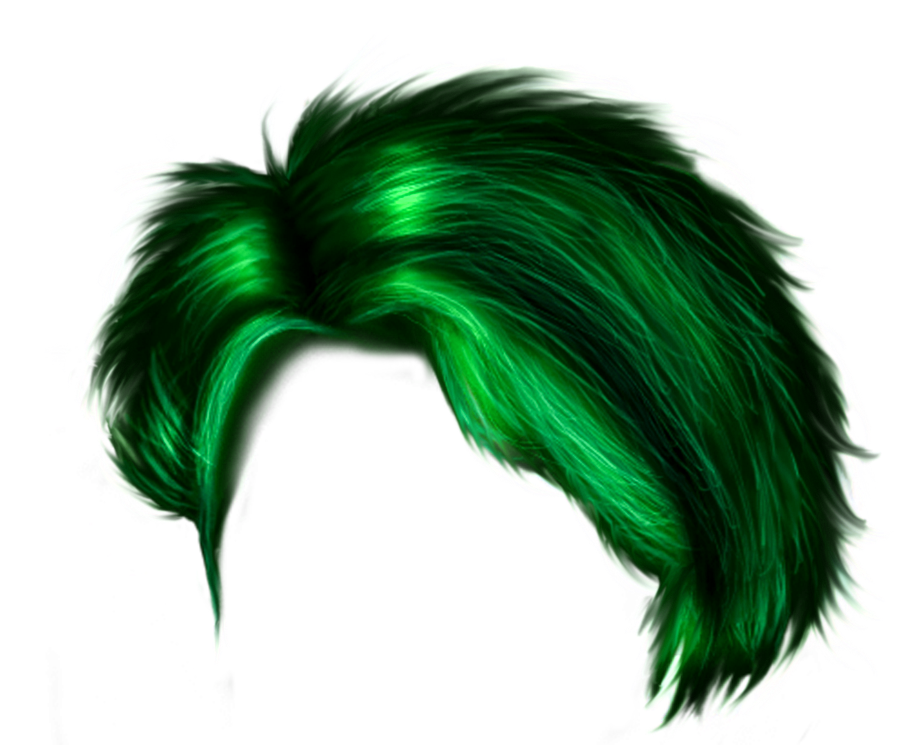 Green hair png. Stylish for boys