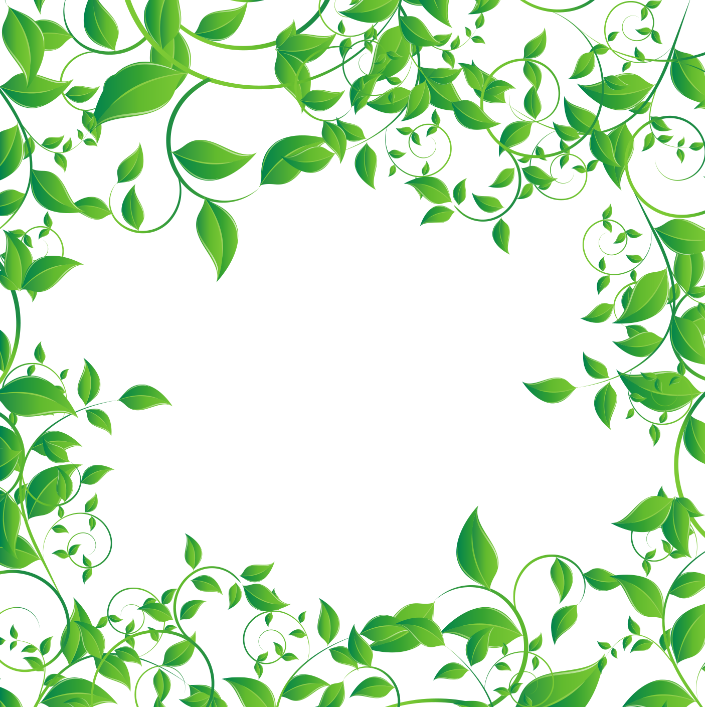 Tea computer file green. Greenery vector border banner black and white library