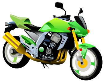 Green motorcycle. Free clipart download clip