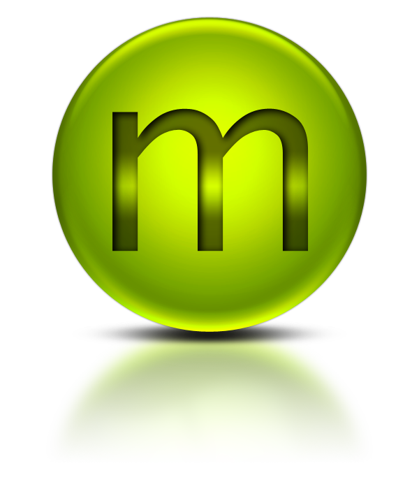 M png icon. Green metallic orb