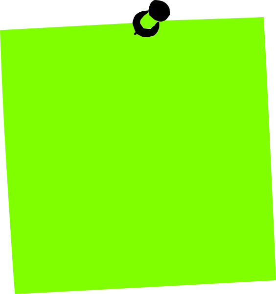 Green post it png. Note clip art at
