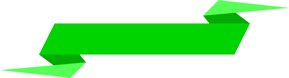 Green ribbon banner png. Simple origami banners