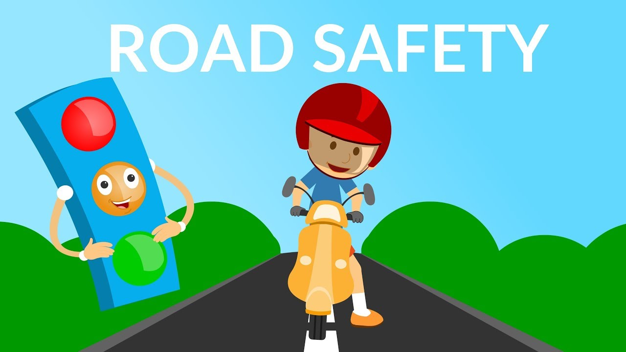 Green safety instruction. Road video traffic rules