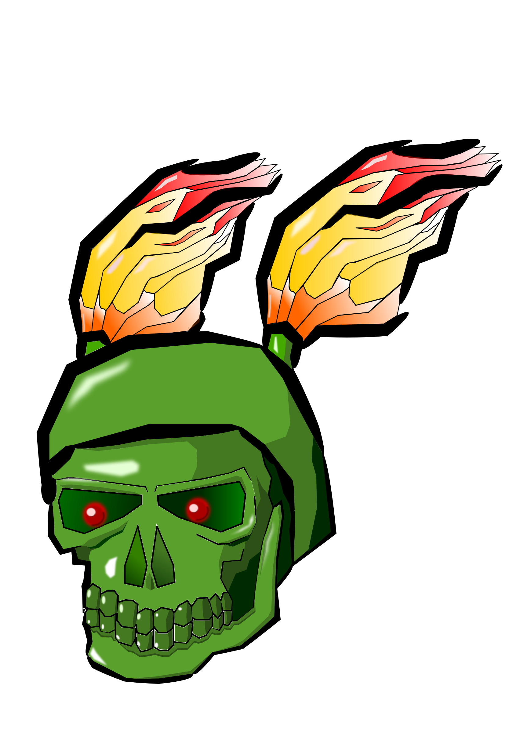 Green skull png. With flames icons free