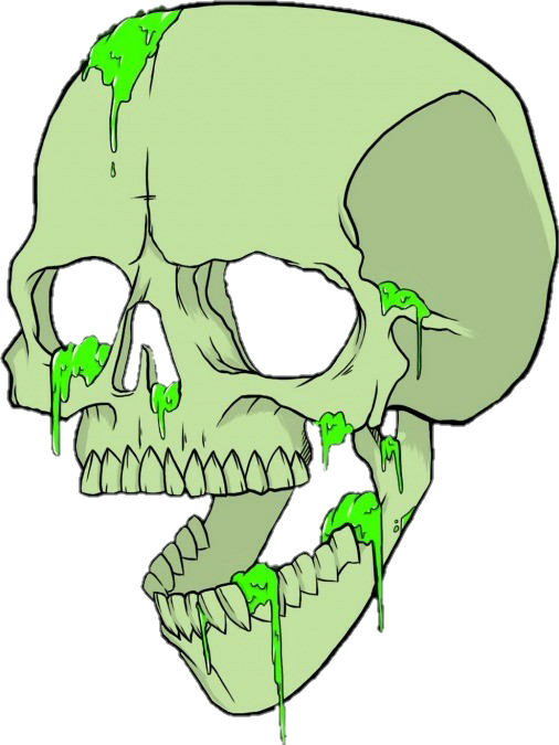 Green skull png. Grime sticker by brayan