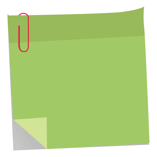 Green note with paperclip. Colorful sticky notes png png free stock