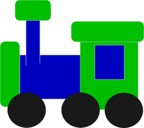 Green train. Blue and clip art