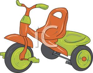Green tricycle. An orange and clip