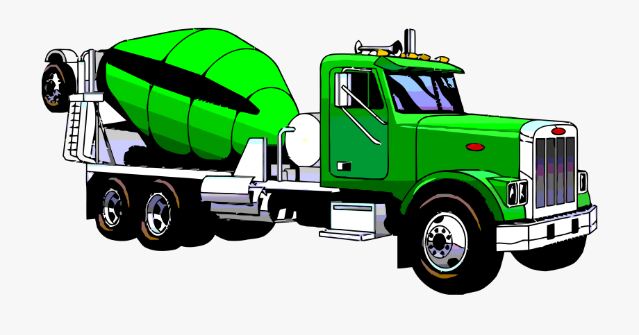 Green truck. Cement mixing clipart png