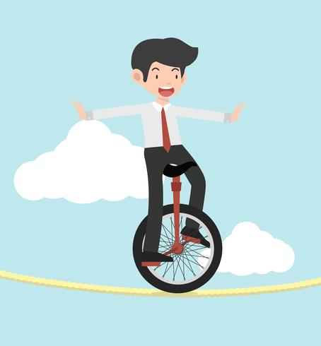 Green unicycle. Businessman riding on a