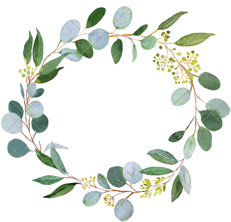 Watercolor greenery png. Download green wreath picture