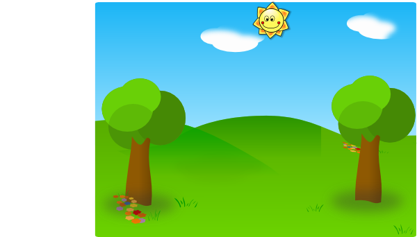 Greenery vector green field. Two trees sun clip