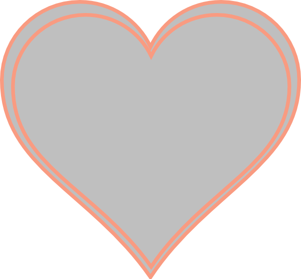 Gray peach. Double outline heart with