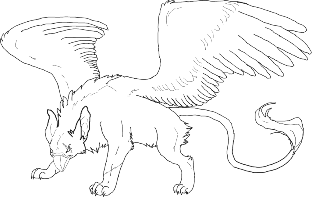 Griffon drawing. Free griffin lineart transparent