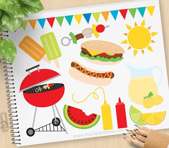 Grilling clipart group picnic. Summer bbq barbecue lemonade