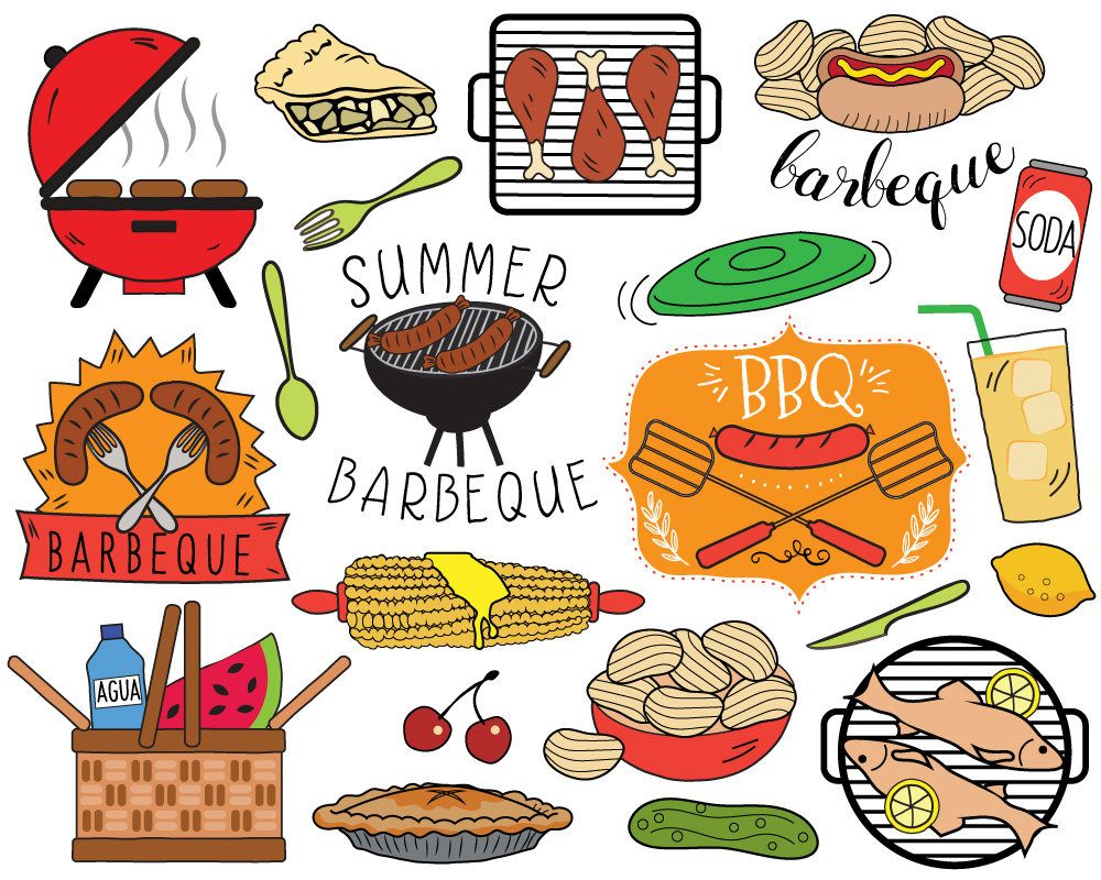 Grilling clipart group picnic. Bbq summer barbecue clip