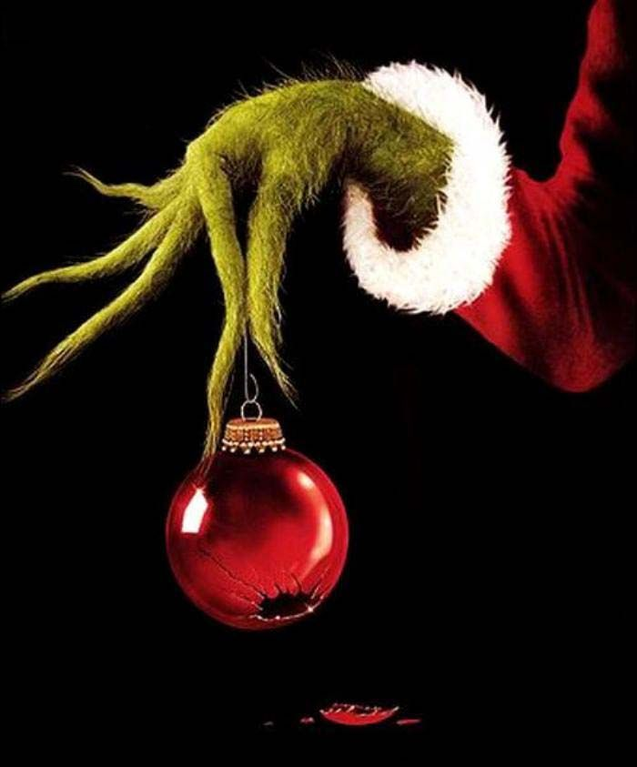 Grinch clipart broken ornament. Hand with holiday prep