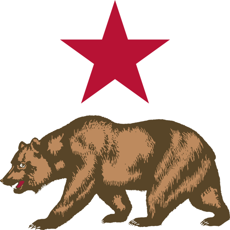 Grizzly drawing symbol. California bear flag of