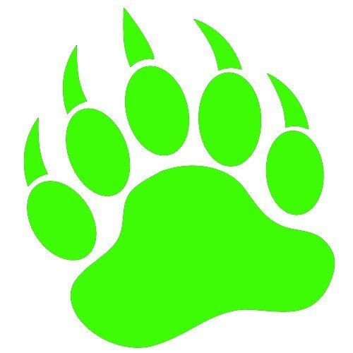 Grizzly clipart bear claw. Paw print lime green