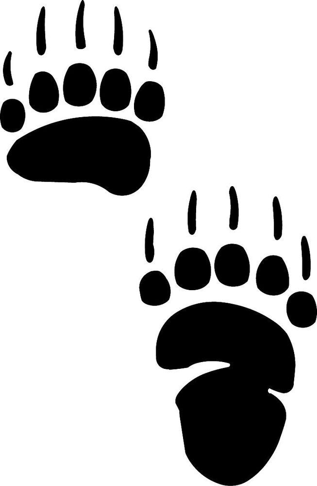 Grizzly clipart bear claw. Paw print stencil decal