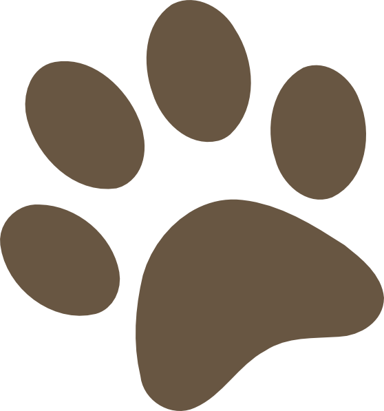 Grizzly clipart paw print. Brown clip art at