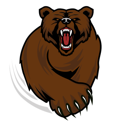 Grizzly drawing design. Mean bear with a
