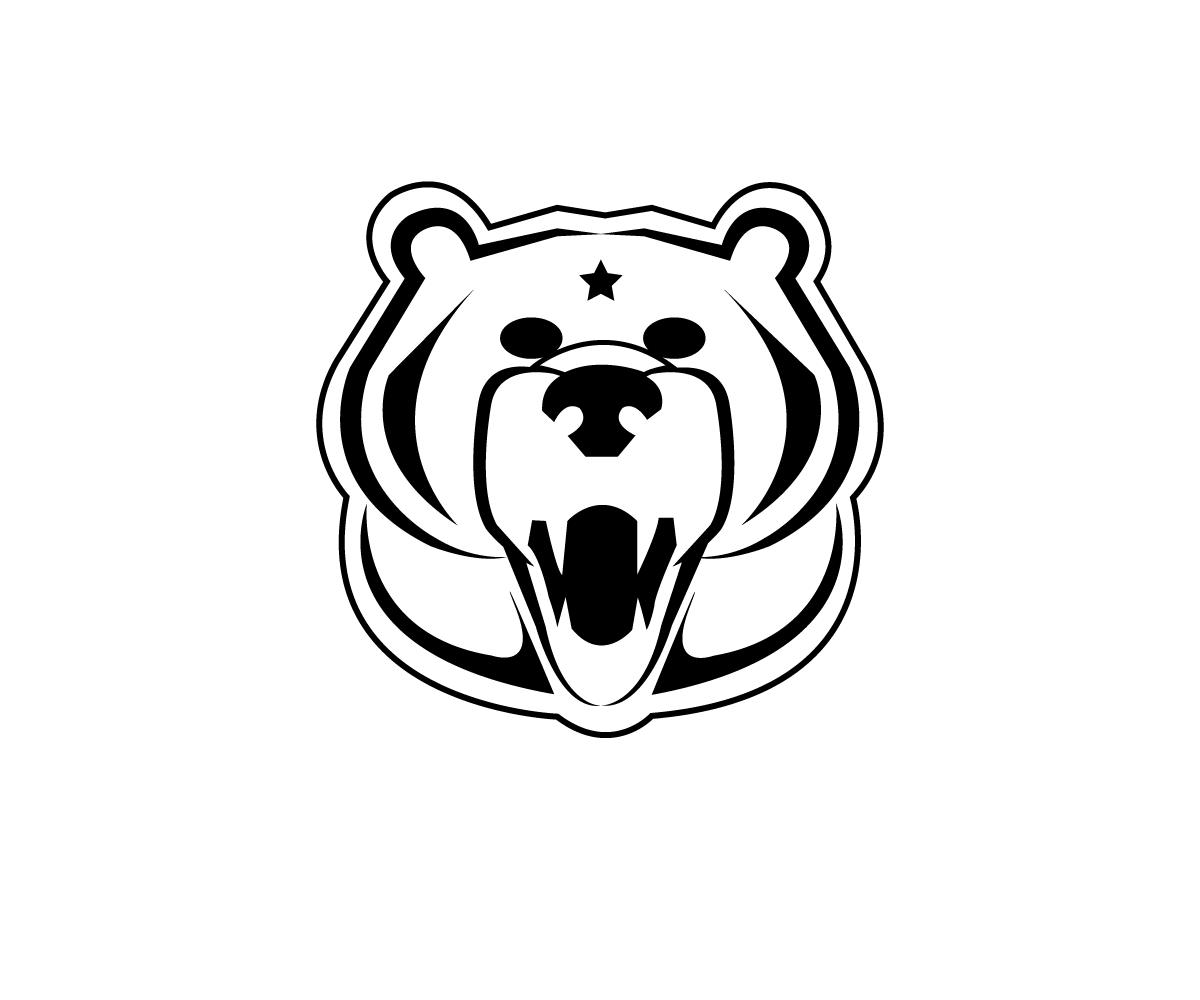 Grizzly drawing logo. Clothing design for none