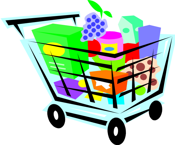 Groceries vector background. Collection of free clipart