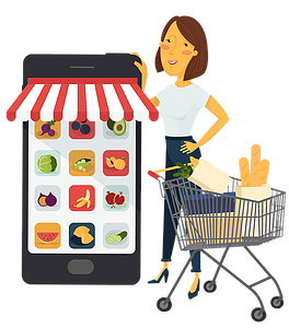 Groceries vector grocery delivery. Collection of free clipart