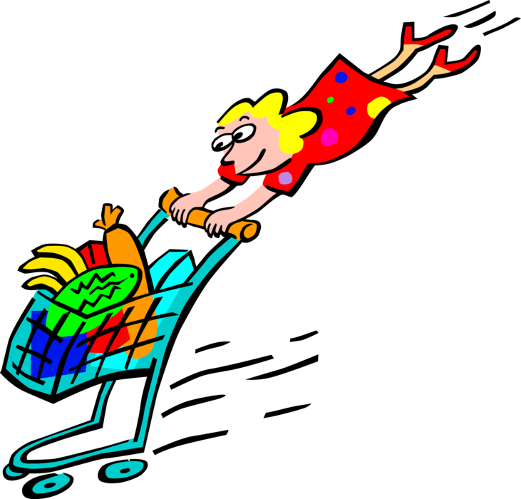 Groceries vector mart. Woman shops with grocery