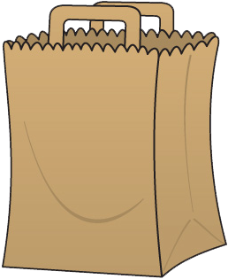 Groceries vector paper bag. Collection of free clipart