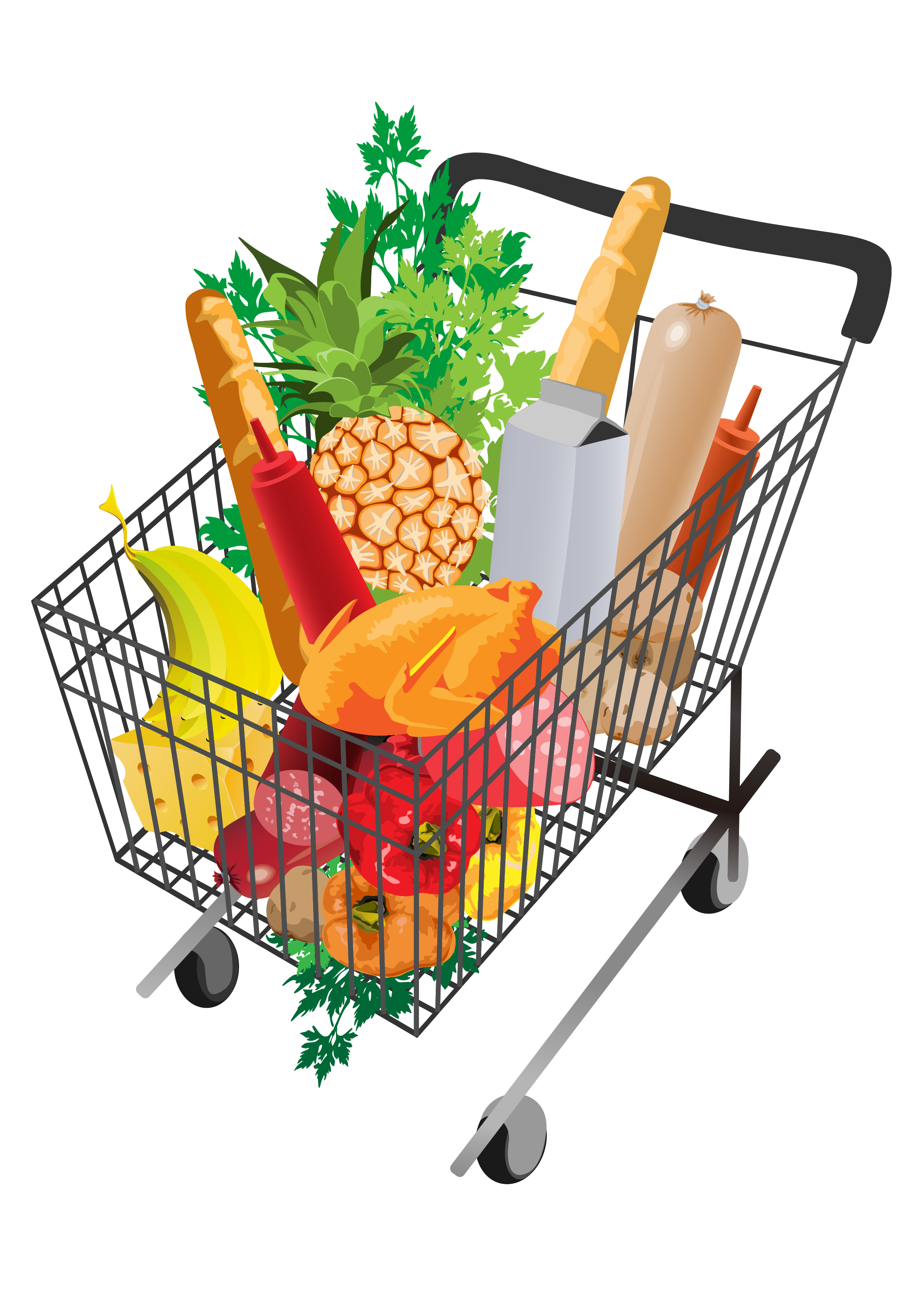Groceries vector transparent background. Grocery shopping cart png