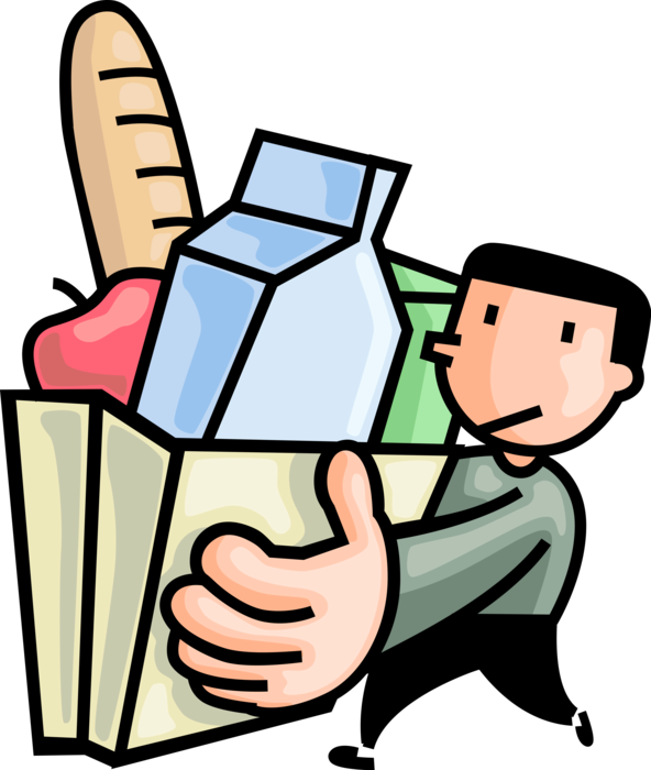 Groceries vector. Shopper with shopping bag