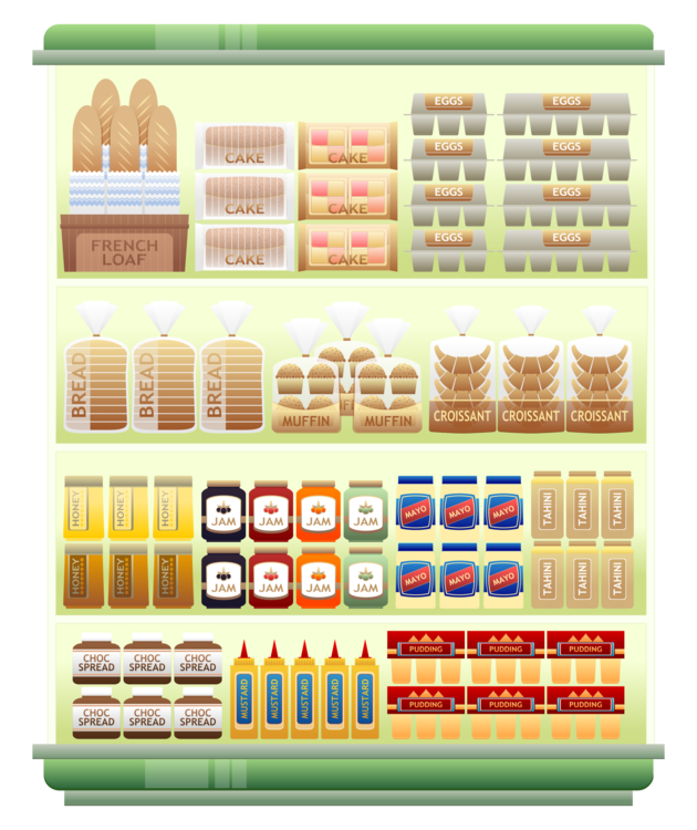 Shelf vector food. Grocery store supermarket alcoholic