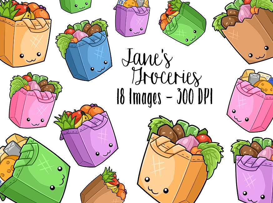 Grocery clipart kawaii. Bags illustrations creative market