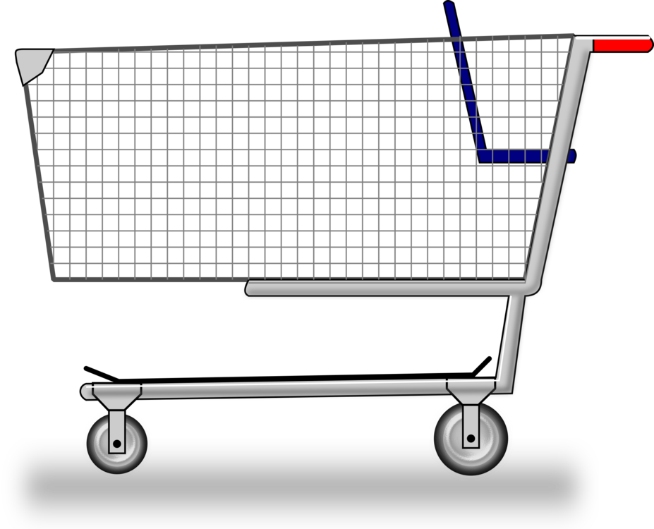 Cart drawing trolley supermarket. Shopping centre grocery store